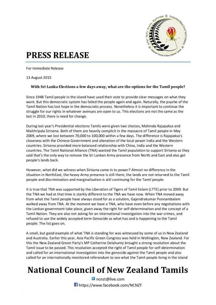 NCNZT Press Release - Sri Lankan Parliamentary Elections 2015-page-001